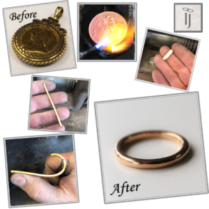 Gold coin reborn into a gold wedding ring