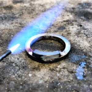 Wedding band being made for a square cut engagement ring