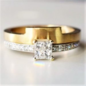 Square cut diamond engagement ring and matching wedding band
