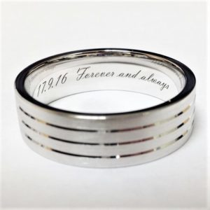wedding ring with engraved date