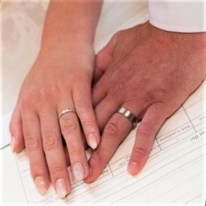 Couple holding hand with wedding rings