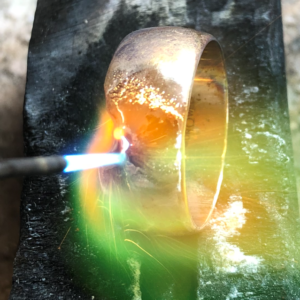Wedding ring being welded