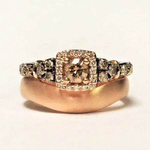 Rose gold wedding ring shaped with engagement ring